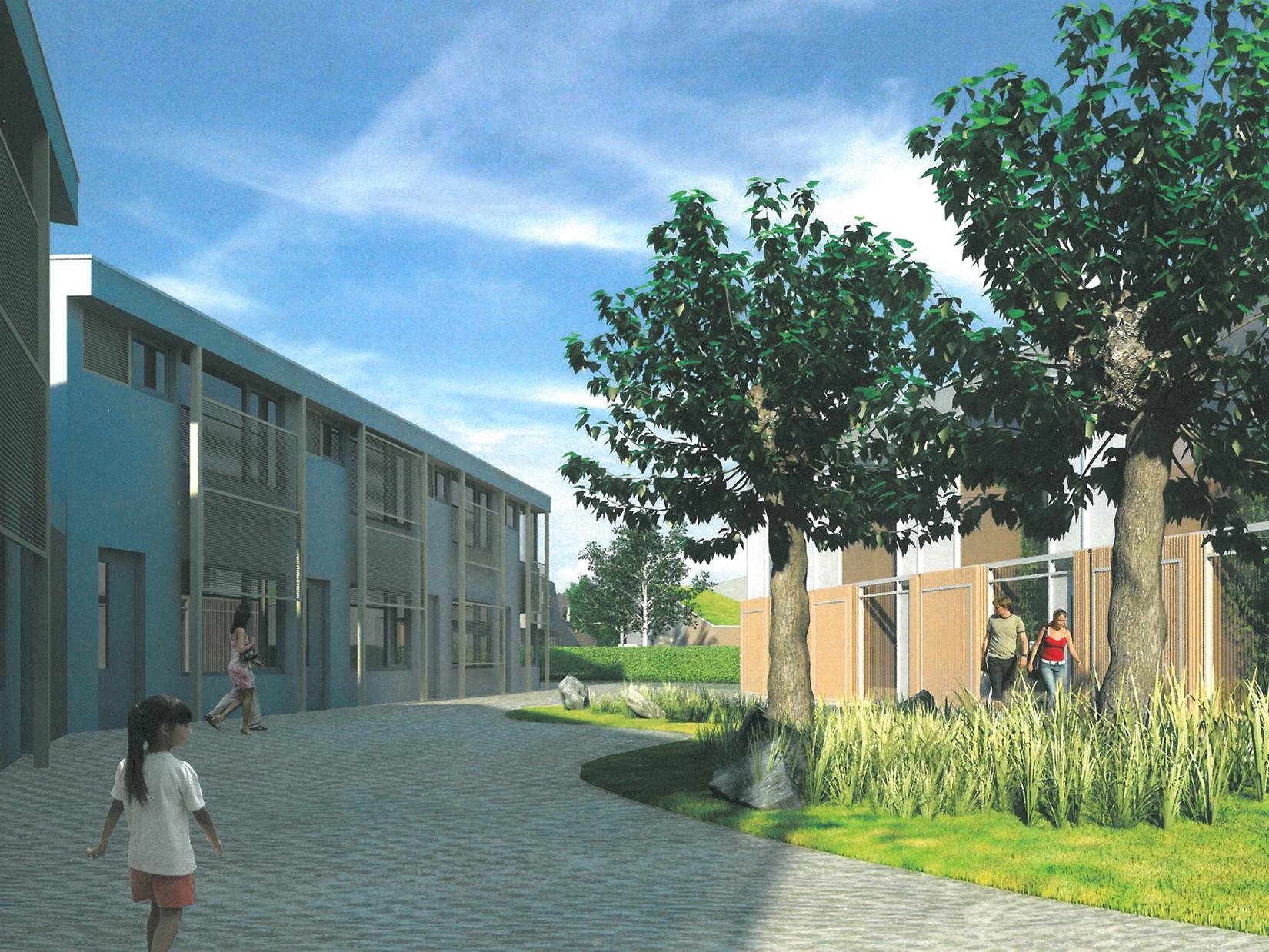 Een ontworpen besloten hofje in een duurzame woonwijk te Uden.